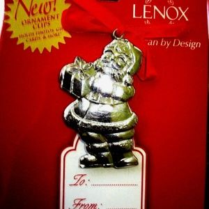 NIP Lenox SilverToned SANTA  Card Holder Ornament